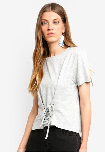 Brave Soul grey Square Cut Lace-Up Tee C59F9AA6CE4DE8GS_1