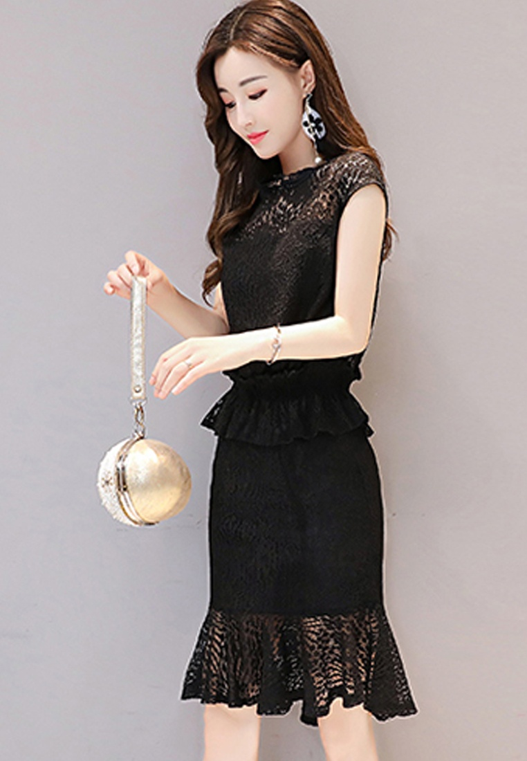 Dress Lace Sleeves One Black Short Sunnydaysweety Black Piece A072430BK 2017 Mini 5wqpR0H5n