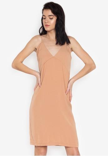 the___edit brown Kelsey Strappy Vneck Slip On Midi Dress C656EAAF2C231CGS_1