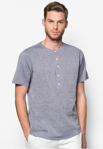 簡約亨利短袖Tee, 服飾, 素色襯zalora 台灣衫