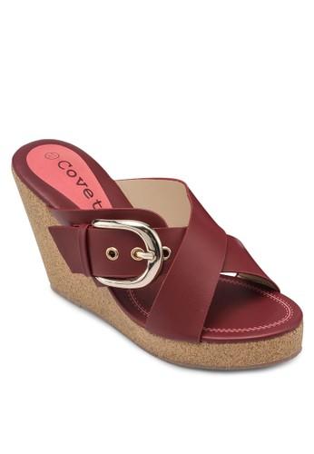 Covet 扣環雙帶楔型跟涼鞋, esprit專櫃韓系時尚, 梳妝