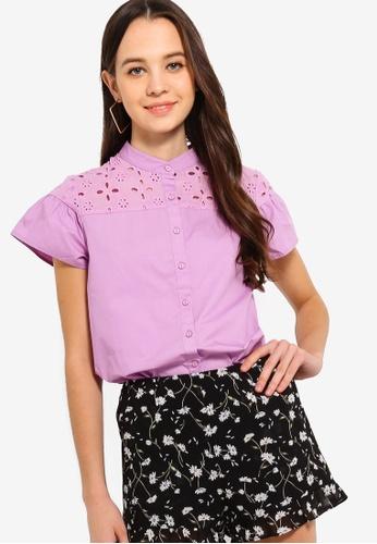 Something Borrowed 紫色 Ruffles Eyelet Button Shirt 4FC60AA09AB3C5GS_1