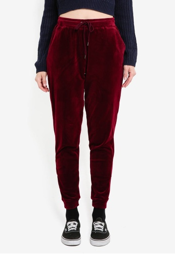 Supre red Velour Track Pants 5591FAA907968FGS_1
