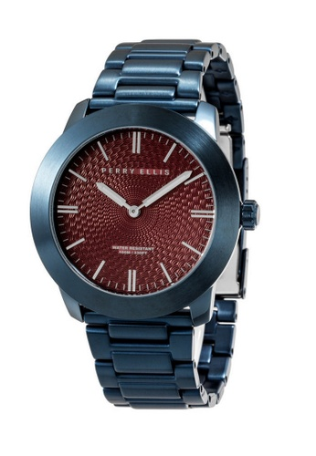PERRY ELLIS red and blue Perry Ellis Slim Line Unisex 42mm Quartz Stainless Steel Watch 07006-02 94DC2AC118BF0DGS_1