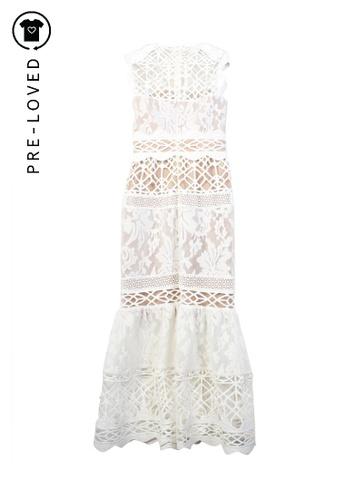 Monique Lhuillier white Pre-Loved monique lhuillier Lace Midi Dress. 8505AAA758CD0DGS_1