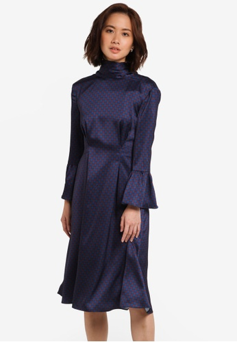 ZALORA navy Tie Neck Midi Dress D99E8AA0E65A3BGS_1