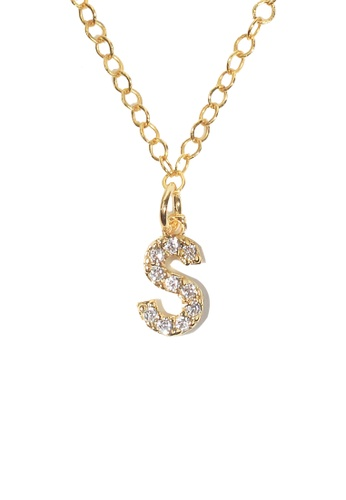 PSYNDROME gold Personalised Initial Letter Alphabet Cubic Zirconia Necklace - S 40DEAACEFB60BAGS_1