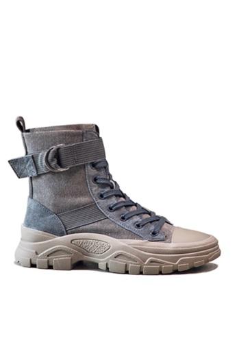 Twenty Eight Shoes 灰色 時尚豬巴皮中筒靴 VB19066 F657FSH21E739FGS_1