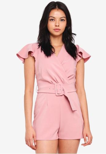 Miss Selfridge pink Petite Belted Playsuit 6FC48AA8B69690GS_1