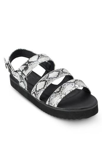 Tully 暗紋多帶esprit專櫃厚底平底涼鞋, 女鞋, 鞋