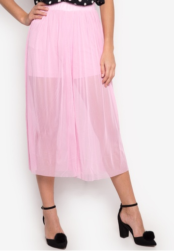 TOPSHOP pink Tulle Mesh Awkward Length Trousers Pants TO099AA89HIWPH_1