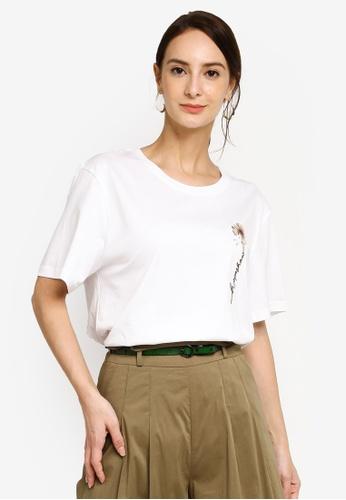 Hopeshow white Rose Graphic Round Neck Chic T-Shirt E5B49AA044105DGS_1