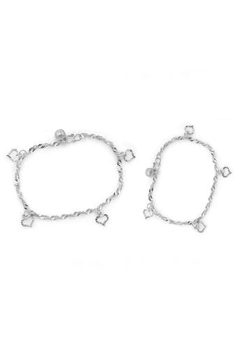Elfi silver Elfi 925 Genuine Solid Silver Water Wave Bracelet Anklet Set SBA-02 EL186AC41NGSMY_1