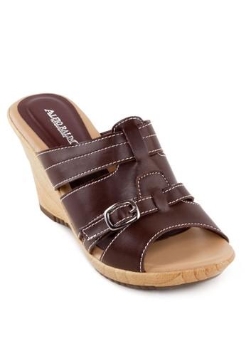 寬帶鏤空楔型跟涼鞋, esprit salon hk女鞋, 鞋