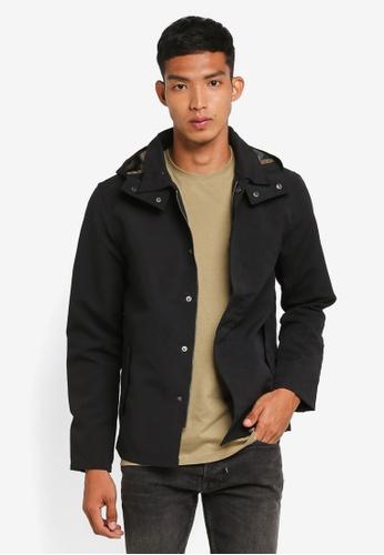 !Solid black Nazaire Detachable Hoodie Field Jacket 5B817AA215C8DCGS_1