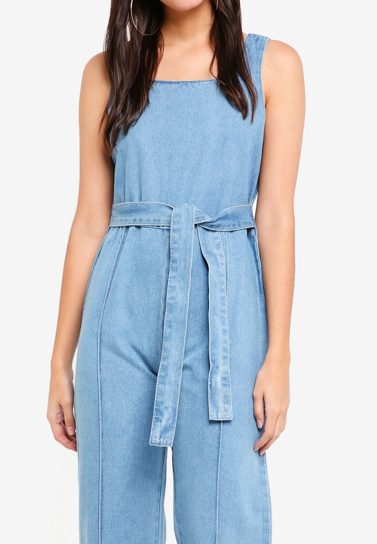 Square ZALORA Blue Denim Jumpsuit Neck Light YSC7w0q