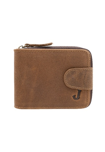 Jack Studio brown JACK STUDIO MEN'S TOP GRAIN COW LEATHER RFID PROTECTION SHORT ZIP WALLET WITH SNAP CLOSURE 64860AC682A301GS_1
