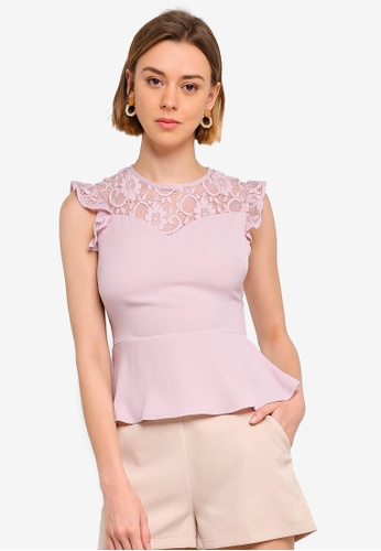 ZALORA 粉紅色 蕾絲上衣 E0D3EAA0539049GS_1