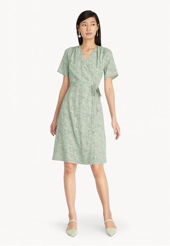 Pomelo blue Floral Ruched Shoulder Wrap Dress - Mint 9C707AAD1BE3F9GS_1