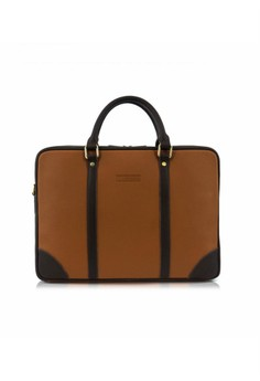 Lotuff Simple Two Line Briefcase - Brown