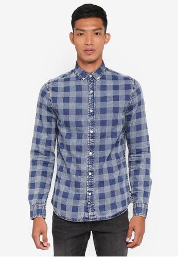 Only & Sons 藍色 長袖格紋襯衫 54A26AA36D6C95GS_1