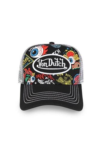 Von Dutch black Von Dutch Jax All Over Print Trucker Cap 20436ACFBC3F78GS_1