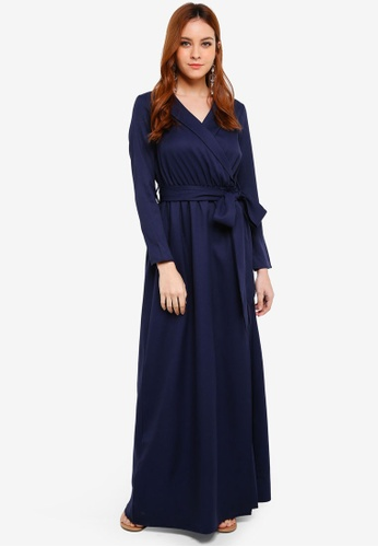Lubna blue and navy Belt Fitted Robe Dress F509AAA2892448GS_1