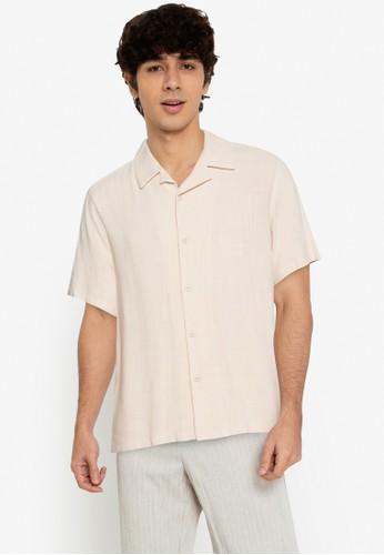 ZALORA BASICS beige Bowling Shirt 40B9DAA1DCBA34GS_1