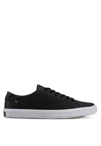 Sperry black Striper II LTT Leather Sneakers 47BE5SH636FBF5GS_1
