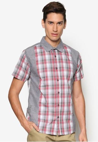 拼色格紋短袖襯衫,esprit 工作 服飾, 襯衫