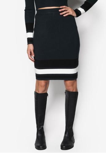 Milesprit 香港ano 條紋羅紋針織短裙, 服飾, 服飾