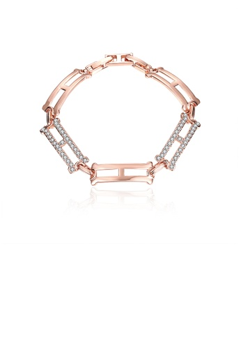 Glamorousky white Simple and Elegant Plated Rose Gold Geometric Bracelet with Austrian Element Crystal 50809AC538F65DGS_1