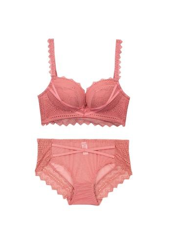 Midnight 粉紅色 Premium Lace Pink Lingerie Set (Bra and Underwear) 77F50US0051C09GS_1