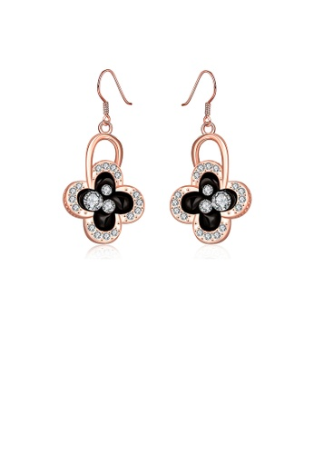 Glamorousky white Elegant Plated Rose Gold Four-leafed Clover Earrings with Austrian Element Crystal 1D9E0ACB99C582GS_1