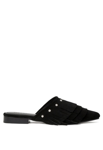 Rag & CO. 黑色 女士黑色合成革尖头平底拖鞋 827F8SH803CB36GS_1