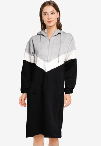 Noisy May grey Melina Long Sleeve Sweat Dress 4594AAAAB26CAEGS_1