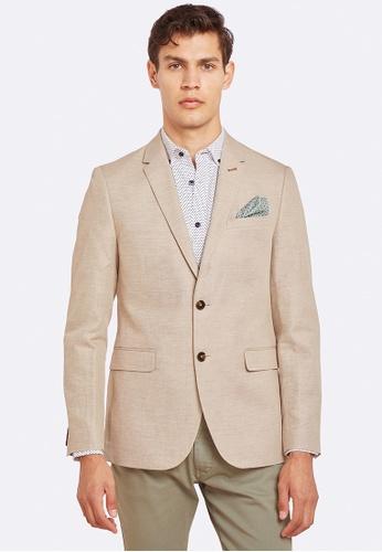 Oxford brown Larkin Linen Blend Blazer 4DED0AA60ED923GS_1