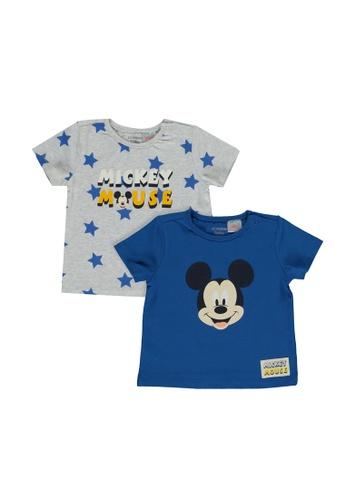 LC Waikiki blue Newborn Mickey Mouse Printed 2-pack T-Shirt 5F596KA3F7D3E0GS_1