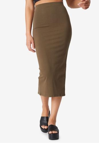 Cotton On green Essential Midi Skirt 345F2AAA091352GS_1