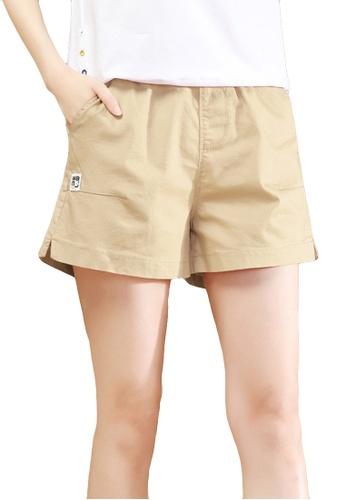 A-IN GIRLS beige Elastic Waist Casual Shorts 3419EAA58910FDGS_1