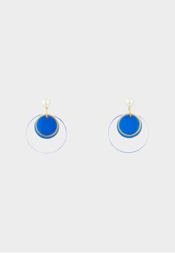 Pomelo blue Double Plated Earrings - Blue 0F8A9AC7254F11GS_1