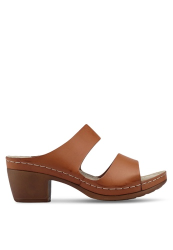Bata brown Slide On Heels 9E550SH261758BGS_1