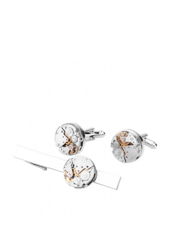 Kings Collection silver Mechanical Movement Watch Tie Clip Cufflinks Set CBC0EACC46D9E0GS_1