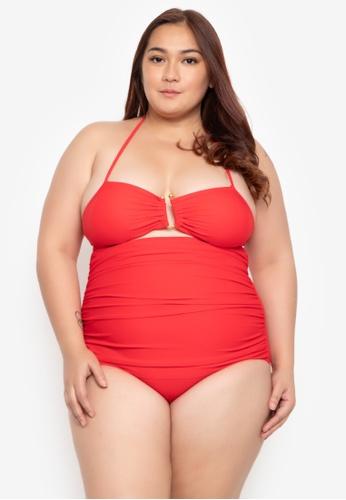 Kats Clothing red Plus Size One Piece Metal-U Trim 035 38B99US42CF082GS_1