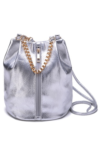 Vince silver Korean Style Vegan Leather Crossbody Bucket Bag ( Silver ) VI456AC23XCUMY_1