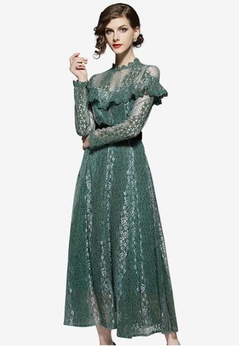 Sunnydaysweety green Lace Off Flounce One Piece Dress FF593AAA20E259GS_1