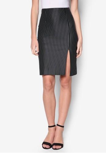 側開衩條紋鉛筆短zalora是哪裡的牌子裙, 服飾, 服飾