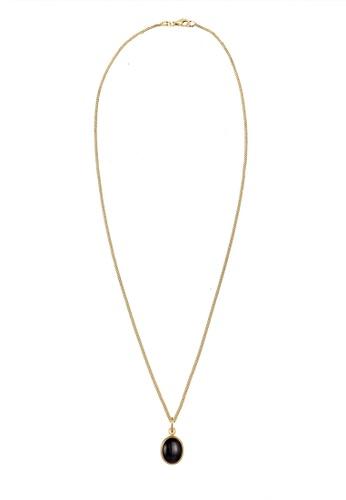 ELLI GERMANY black Onyx Pendant Gold Plated Necklace C8300ACEC9B4D9GS_1