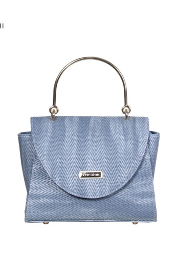 Verchini blue Verchini Textured Metal Top Handle Bag C9C13AC4E7CF78GS_1