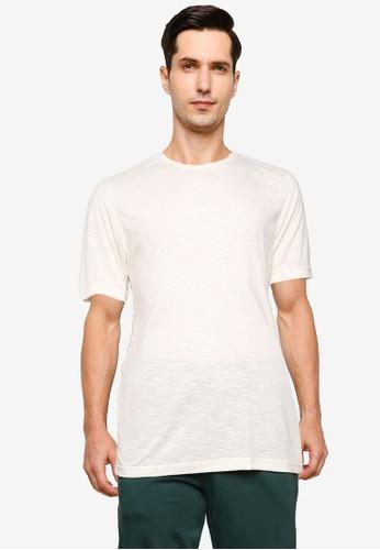UniqTee beige Slim Crew T-Shirt 55C98AAFEAE185GS_1